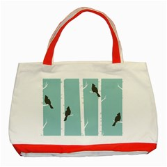 Birds Trees Birch Birch Trees Classic Tote Bag (red)