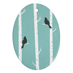 Birds Trees Birch Birch Trees Oval Ornament (two Sides)