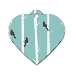 Birds Trees Birch Birch Trees Dog Tag Heart (two Sides)