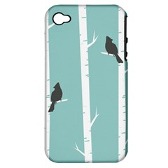 Birds Trees Birch Birch Trees Apple Iphone 4/4s Hardshell Case (pc+silicone)
