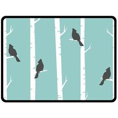 Birds Trees Birch Birch Trees Double Sided Fleece Blanket (large)
