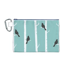 Birds Trees Birch Birch Trees Canvas Cosmetic Bag (m)