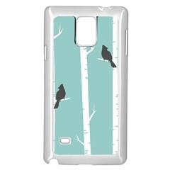 Birds Trees Birch Birch Trees Samsung Galaxy Note 4 Case (white)
