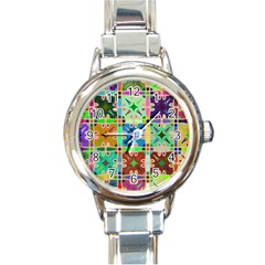 Abstract Pattern Background Design Round Italian Charm Watch