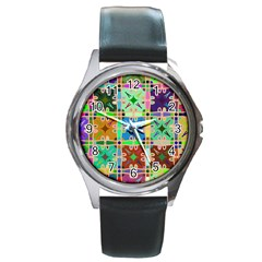Abstract Pattern Background Design Round Metal Watch