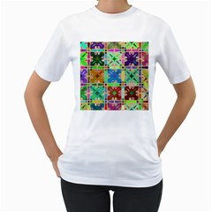 Abstract Pattern Background Design Women s T Shirt (white) (two Sided)