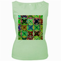 Abstract Pattern Background Design Women s Green Tank Top
