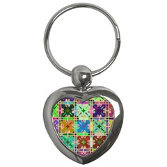 Abstract Pattern Background Design Key Chains (heart)