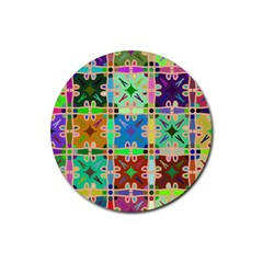 Abstract Pattern Background Design Rubber Round Coaster (4 Pack)