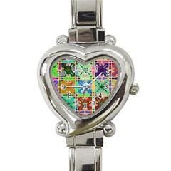 Abstract Pattern Background Design Heart Italian Charm Watch