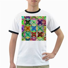 Abstract Pattern Background Design Ringer T Shirts