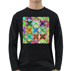 Abstract Pattern Background Design Long Sleeve Dark T Shirts