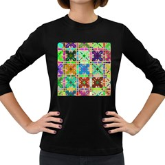 Abstract Pattern Background Design Women s Long Sleeve Dark T Shirts