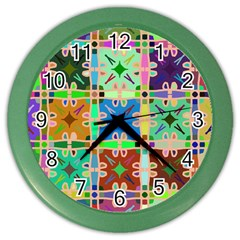 Abstract Pattern Background Design Color Wall Clocks