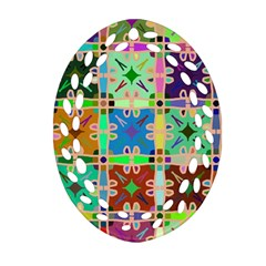 Abstract Pattern Background Design Oval Filigree Ornament (2 Side)