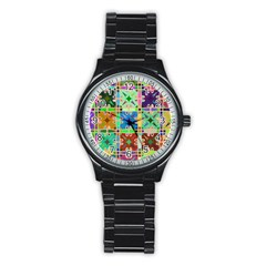 Abstract Pattern Background Design Stainless Steel Round Watch
