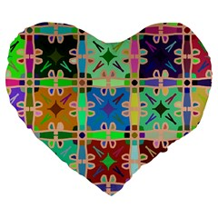 Abstract Pattern Background Design Large 19  Premium Flano Heart Shape Cushions