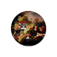 Abundance Of Fruit Severin Roesen Rubber Coaster (round)