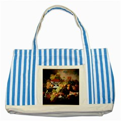 Abundance Of Fruit Severin Roesen Striped Blue Tote Bag