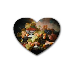 Abundance Of Fruit Severin Roesen Rubber Coaster (heart)