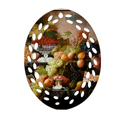 Abundance Of Fruit Severin Roesen Oval Filigree Ornament (2 Side)