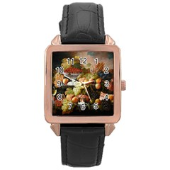 Abundance Of Fruit Severin Roesen Rose Gold Leather Watch