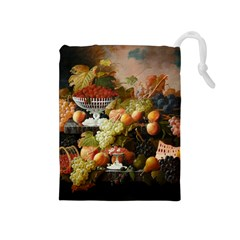Abundance Of Fruit Severin Roesen Drawstring Pouches (medium)