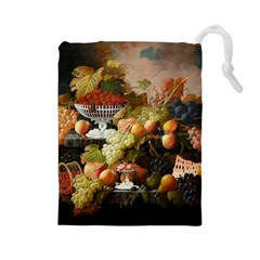 Abundance Of Fruit Severin Roesen Drawstring Pouches (large)