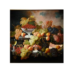 Abundance Of Fruit Severin Roesen Small Satin Scarf (square)