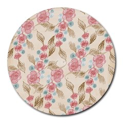 Background Page Template Floral Round Mousepads
