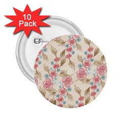 Background Page Template Floral 2.25  Buttons (10 pack)
