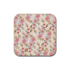 Background Page Template Floral Rubber Coaster (square)
