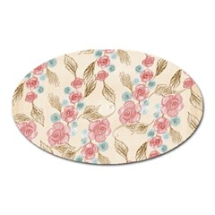 Background Page Template Floral Oval Magnet