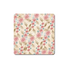 Background Page Template Floral Square Magnet