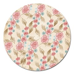 Background Page Template Floral Magnet 5  (round)