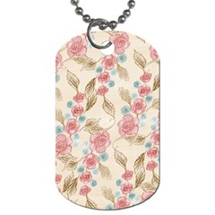 Background Page Template Floral Dog Tag (one Side)