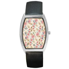 Background Page Template Floral Barrel Style Metal Watch