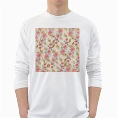 Background Page Template Floral White Long Sleeve T Shirts