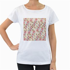 Background Page Template Floral Women s Loose Fit T Shirt (white)