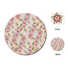 Background Page Template Floral Playing Cards (round)