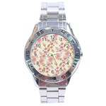 Background Page Template Floral Stainless Steel Analogue Watch Front