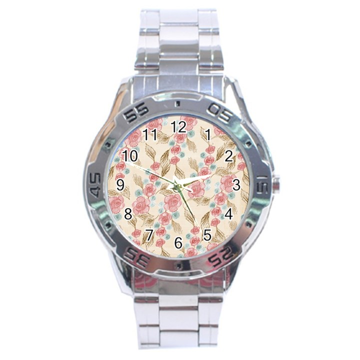 Background Page Template Floral Stainless Steel Analogue Watch