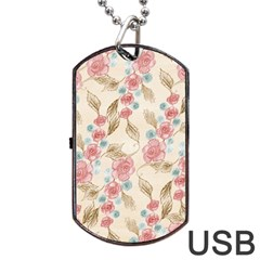 Background Page Template Floral Dog Tag Usb Flash (one Side)