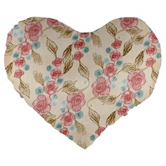 Background Page Template Floral Large 19  Premium Heart Shape Cushions