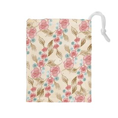 Background Page Template Floral Drawstring Pouches (large)