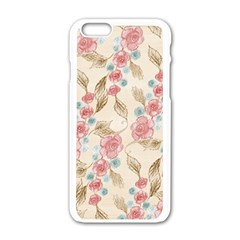 Background Page Template Floral Apple iPhone 6/6S White Enamel Case