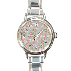 Background Page Template Floral Round Italian Charm Watch