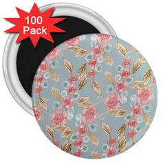 Background Page Template Floral 3  Magnets (100 Pack)