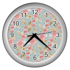 Background Page Template Floral Wall Clocks (silver)