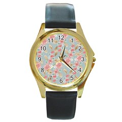 Background Page Template Floral Round Gold Metal Watch